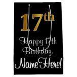 [ Thumbnail: Luxurious, Elegant, Faux Gold Look 17th Birthday Gift Bag ]