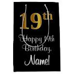 [ Thumbnail: Luxurious, Elegant, Faux Gold Look 19th Birthday Gift Bag ]
