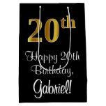 [ Thumbnail: Luxurious, Elegant, Faux Gold Look 20th Birthday Gift Bag ]