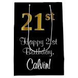 [ Thumbnail: Luxurious, Elegant, Faux Gold Look 21st Birthday Gift Bag ]
