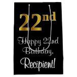 [ Thumbnail: Luxurious, Elegant, Faux Gold Look 22nd Birthday Gift Bag ]