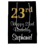 [ Thumbnail: Luxurious, Elegant, Faux Gold Look 23rd Birthday Gift Bag ]