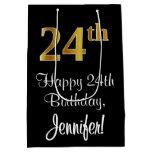 [ Thumbnail: Luxurious, Elegant, Faux Gold Look 24th Birthday Gift Bag ]