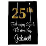 [ Thumbnail: Luxurious, Elegant, Faux Gold Look 25th Birthday Gift Bag ]