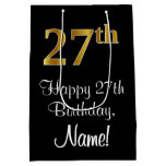 [ Thumbnail: Luxurious, Elegant, Faux Gold Look 27th Birthday Gift Bag ]