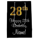 [ Thumbnail: Luxurious, Elegant, Faux Gold Look 28th Birthday Gift Bag ]