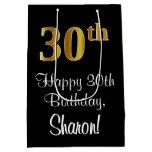 [ Thumbnail: Luxurious, Elegant, Faux Gold Look 30th Birthday Gift Bag ]