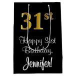 [ Thumbnail: Luxurious, Elegant, Faux Gold Look 31st Birthday Gift Bag ]