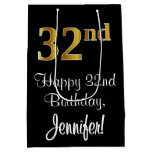 [ Thumbnail: Luxurious, Elegant, Faux Gold Look 32nd Birthday Gift Bag ]