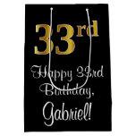 [ Thumbnail: Luxurious, Elegant, Faux Gold Look 33rd Birthday Gift Bag ]