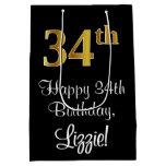 [ Thumbnail: Luxurious, Elegant, Faux Gold Look 34th Birthday Gift Bag ]