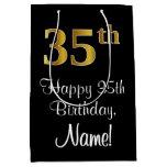 [ Thumbnail: Luxurious, Elegant, Faux Gold Look 35th Birthday Gift Bag ]
