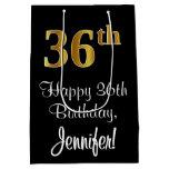 [ Thumbnail: Luxurious, Elegant, Faux Gold Look 36th Birthday Gift Bag ]