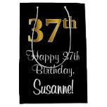 [ Thumbnail: Luxurious, Elegant, Faux Gold Look 37th Birthday Gift Bag ]