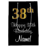 [ Thumbnail: Luxurious, Elegant, Faux Gold Look 38th Birthday Gift Bag ]