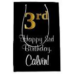 [ Thumbnail: Luxurious, Elegant, Faux Gold Look 3rd Birthday Gift Bag ]