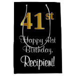 [ Thumbnail: Luxurious, Elegant, Faux Gold Look 41st Birthday Gift Bag ]