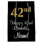 [ Thumbnail: Luxurious, Elegant, Faux Gold Look 42nd Birthday Gift Bag ]