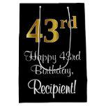 [ Thumbnail: Luxurious, Elegant, Faux Gold Look 43rd Birthday Gift Bag ]