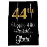[ Thumbnail: Luxurious, Elegant, Faux Gold Look 44th Birthday Gift Bag ]