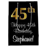 [ Thumbnail: Luxurious, Elegant, Faux Gold Look 45th Birthday Gift Bag ]