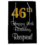 [ Thumbnail: Luxurious, Elegant, Faux Gold Look 46th Birthday Gift Bag ]