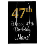 [ Thumbnail: Luxurious, Elegant, Faux Gold Look 47th Birthday Gift Bag ]