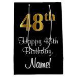[ Thumbnail: Luxurious, Elegant, Faux Gold Look 48th Birthday Gift Bag ]