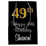 [ Thumbnail: Luxurious, Elegant, Faux Gold Look 49th Birthday Gift Bag ]