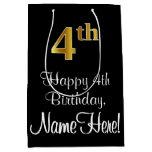 [ Thumbnail: Luxurious, Elegant, Faux Gold Look 4th Birthday Gift Bag ]