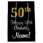 [ Thumbnail: Luxurious, Elegant, Faux Gold Look 50th Birthday Gift Bag ]