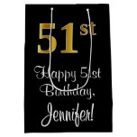[ Thumbnail: Luxurious, Elegant, Faux Gold Look 51st Birthday Gift Bag ]