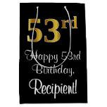 [ Thumbnail: Luxurious, Elegant, Faux Gold Look 53rd Birthday Gift Bag ]