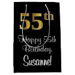 [ Thumbnail: Luxurious, Elegant, Faux Gold Look 55th Birthday Gift Bag ]
