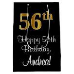 [ Thumbnail: Luxurious, Elegant, Faux Gold Look 56th Birthday Gift Bag ]
