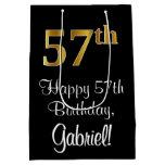 [ Thumbnail: Luxurious, Elegant, Faux Gold Look 57th Birthday Gift Bag ]