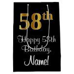 [ Thumbnail: Luxurious, Elegant, Faux Gold Look 58th Birthday Gift Bag ]