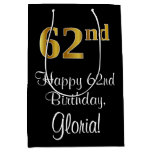 [ Thumbnail: Luxurious, Elegant, Faux Gold Look 62nd Birthday Gift Bag ]