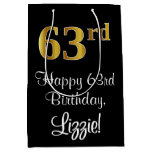 [ Thumbnail: Luxurious, Elegant, Faux Gold Look 63rd Birthday M Gift Bag ]