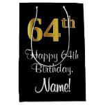 [ Thumbnail: Luxurious, Elegant, Faux Gold Look 64th Birthday Gift Bag ]
