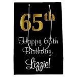 [ Thumbnail: Luxurious, Elegant, Faux Gold Look 65th Birthday Gift Bag ]