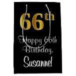 [ Thumbnail: Luxurious, Elegant, Faux Gold Look 66th Birthday Gift Bag ]