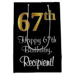 [ Thumbnail: Luxurious, Elegant, Faux Gold Look 67th Birthday Gift Bag ]