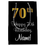 [ Thumbnail: Luxurious, Elegant, Faux Gold Look 70th Birthday Gift Bag ]