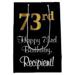 [ Thumbnail: Luxurious, Elegant, Faux Gold Look 73rd Birthday Gift Bag ]