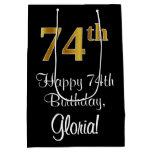 [ Thumbnail: Luxurious, Elegant, Faux Gold Look 74th Birthday Gift Bag ]