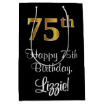 [ Thumbnail: Luxurious, Elegant, Faux Gold Look 75th Birthday Gift Bag ]