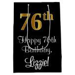 [ Thumbnail: Luxurious, Elegant, Faux Gold Look 76th Birthday Gift Bag ]