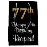 [ Thumbnail: Luxurious, Elegant, Faux Gold Look 77th Birthday Gift Bag ]