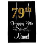 [ Thumbnail: Luxurious, Elegant, Faux Gold Look 79th Birthday Gift Bag ]